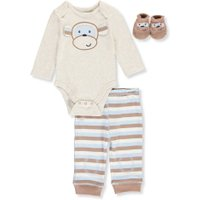 Vitamins Baby Baby Boys' 3-Piece Layette Set - oatmeal heather, 3 months